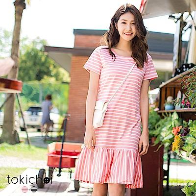 東京著衣 輕甜條紋荷葉剪接長洋裝-S.M.L(共二色)