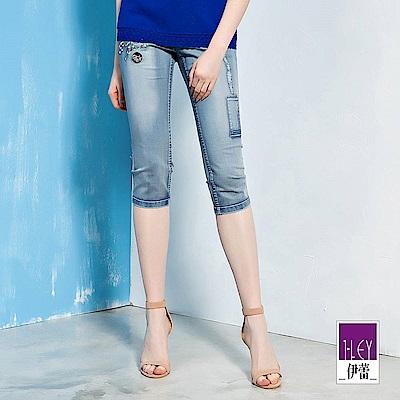 ILEY伊蕾 -5kg刺繡刷白七分牛仔褲(藍)
