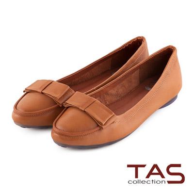 TAS-太妃Q系列-層次蝴蝶結牛皮娃娃鞋-焦糖棕