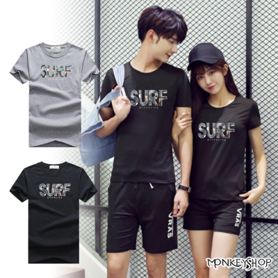 Monkey Shop 正韓國製情侶SURF圖案拼接字母印花短袖T恤-<b>2</b>色