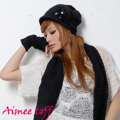 Aimee-Toff-韓版珍珠羽毛針織毛線帽-圍巾組-黑