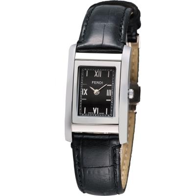FENDI Loop 可翻轉系列時尚腕錶-黑/21mm