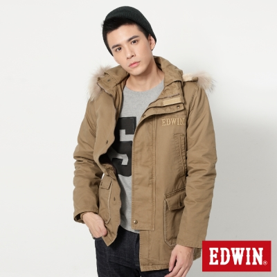 EDWIN 雙開襟長版鋪棉防寒外套-男-淺卡其