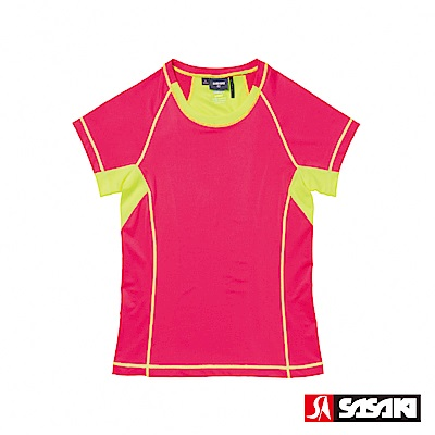 SASAKI-高彈力機能性運動緊身圓領短衫-女-中