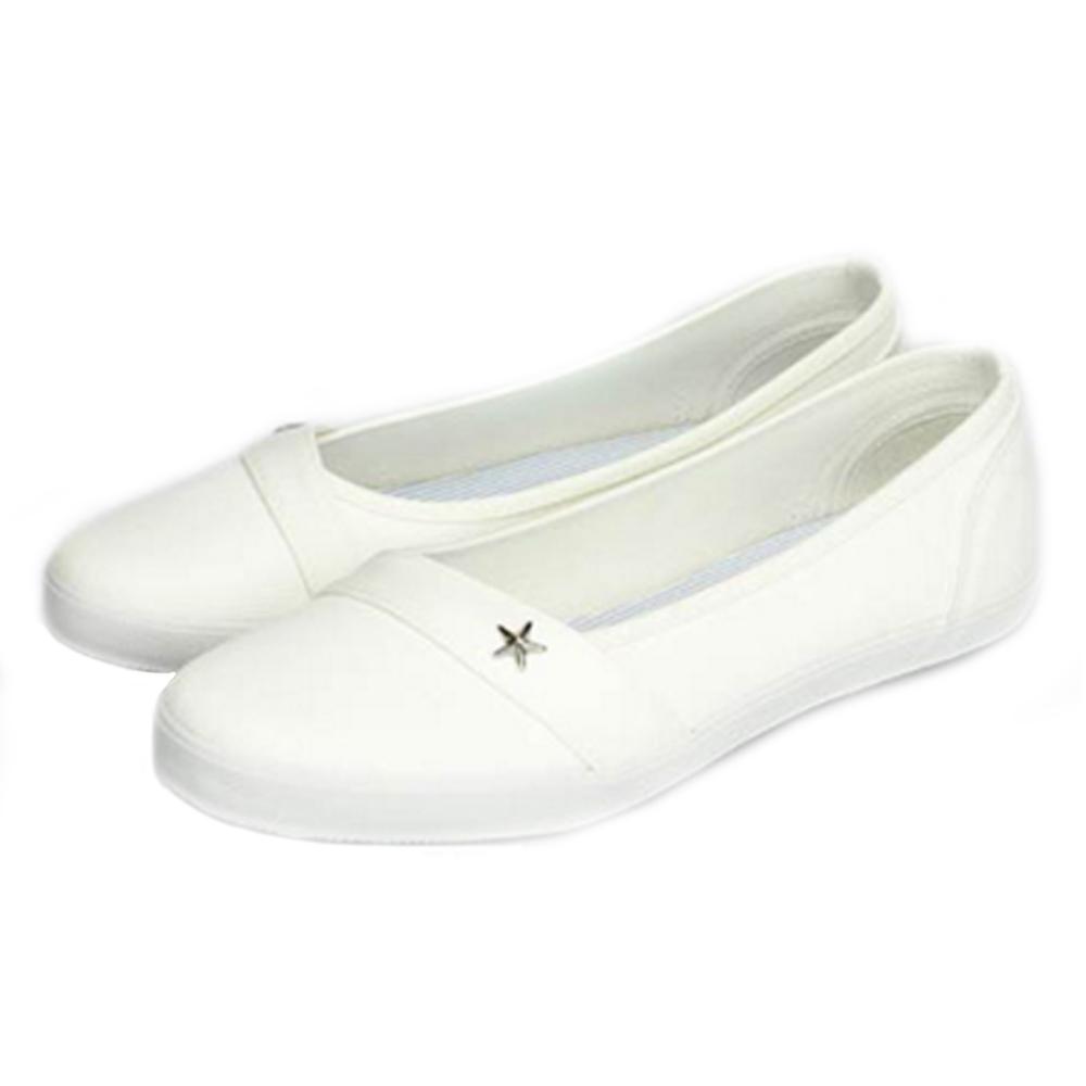 FUFA MIT 星型鉚釘氣質懶人鞋(H74)-白色