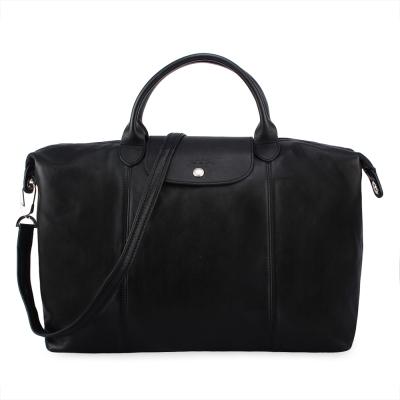 Longchamp Le Pliage Cuir小羊皮短把折疊大型水餃包-黑色