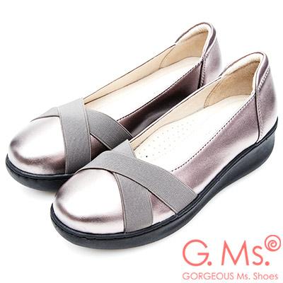 G.Ms. 牛皮交叉鬆緊帶厚底坡跟鞋-銀色