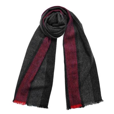 COACH灰紅直紋寬線條羊毛圍巾(183x30.5)