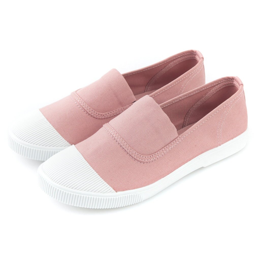 Camille's 韓國空運-正韓製-彩色心情-素面帆布懶人休閒鞋-輕甜粉
