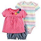Baby unicorn 粉點彩虹條紋短袖套裝3件組