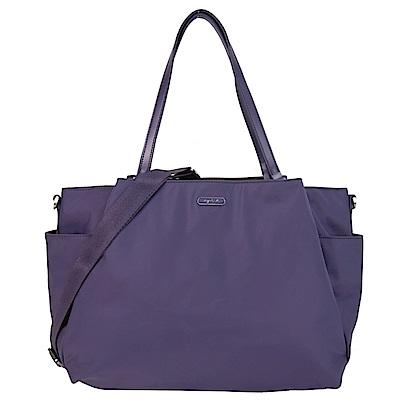 agnes b.橢圓牌多口袋旅行袋(附斜背帶)-紫