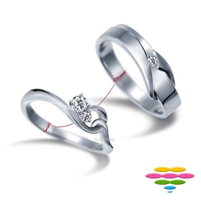 彩糖鑽工坊 19分 鑽石對戒 愛情9號線系列