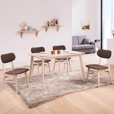 Boden-菲德4尺北歐風餐桌椅組(一桌四椅)兩色-120x75x75cm