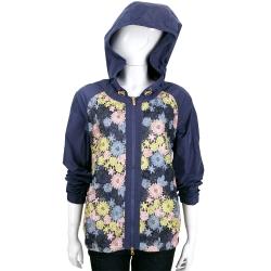 BOSIDENG 紫藍色花朵織花蕾絲連帽風衣外套