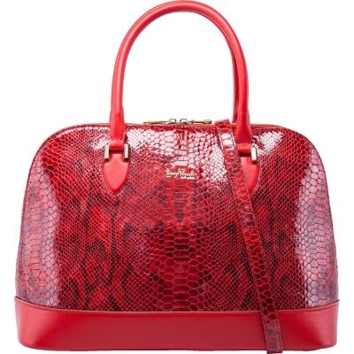 TONY PEROTTI 義大利蟒蛇紋牛皮 肩背/手提貝殼包 #9739G ( 紅色 )
