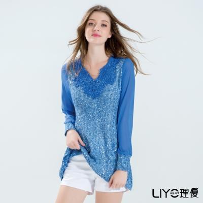 LIYO理優韓風蕾絲針織上衣(藍)