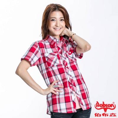 BOBSON 女款格紋短袖襯衫(紅23132-13)