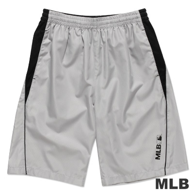 MLB-美國職棒大聯盟風衣布撞色運動短褲-灰(男)