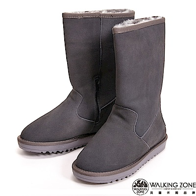 【WALKING ZONE】暖暖內刷毛拉鍊造型高筒 女雪靴-灰(另有深咖)