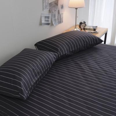 絲薇諾 MIT精梳純棉 換日線-黑 雙人三件式-床包枕套組