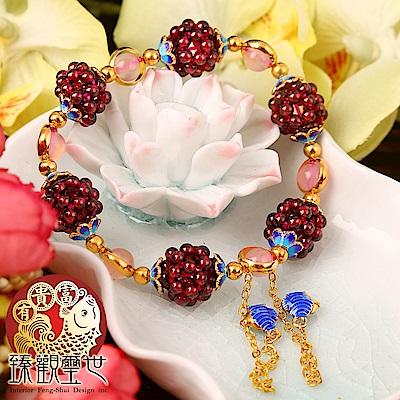 豔紫粉紅 石榴石桃花人緣手環 含開光 臻觀璽世