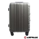 AIRWALK-金屬森林 木絲鋁框復古壓扣行李箱 28吋ABS+PC鋁框箱 - 碳鑽灰