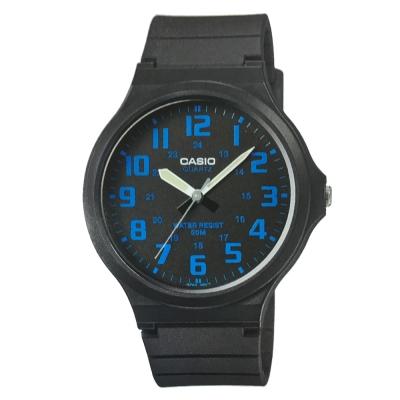 CASIO 超輕薄感實用必備大表面指針錶-(MW-240-2B)黑x藍數字/45mm