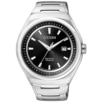 CITIZEN 科技新貴鈦時尚光動能腕錶(AW1251-51E)-黑/43mm