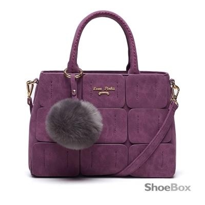 鞋櫃ShoeBox-女包-手提包-毛球吊飾拼接方塊手提包-紫