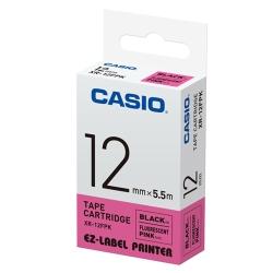CASIO  標籤機專用特殊色帶-12mm(瑩光桃紅底黑字)XR-12FPK1