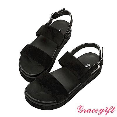 絨布雙寬帶厚底涼拖鞋-黑