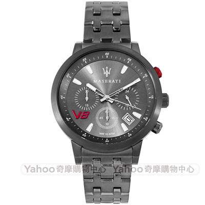 MASERATI 瑪莎拉蒂自信風範三眼計時手錶-灰/43mm
