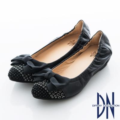 DN 法式玩美 實穿百搭點鑽蝴蝶內增高包鞋 黑