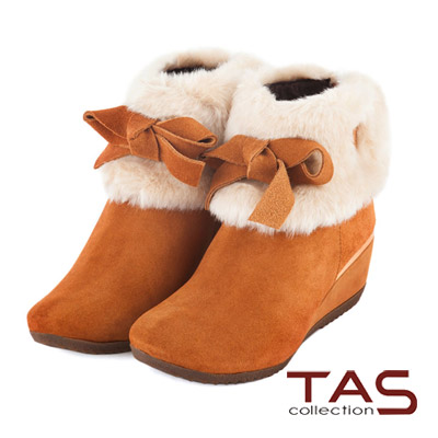 TAS-甜美女孩-反領絨毛繫帶可愛蝴蝶結楔型短靴-甜美棕
