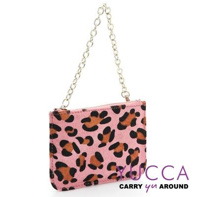 YUCCA -牛皮+馬毛動物紋零錢鑰匙包-粉紅色14190025099
