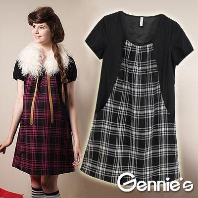 【Gennie's奇妮】氣質白格紋拼接羊毛秋冬孕婦洋裝-白(G 1407 )