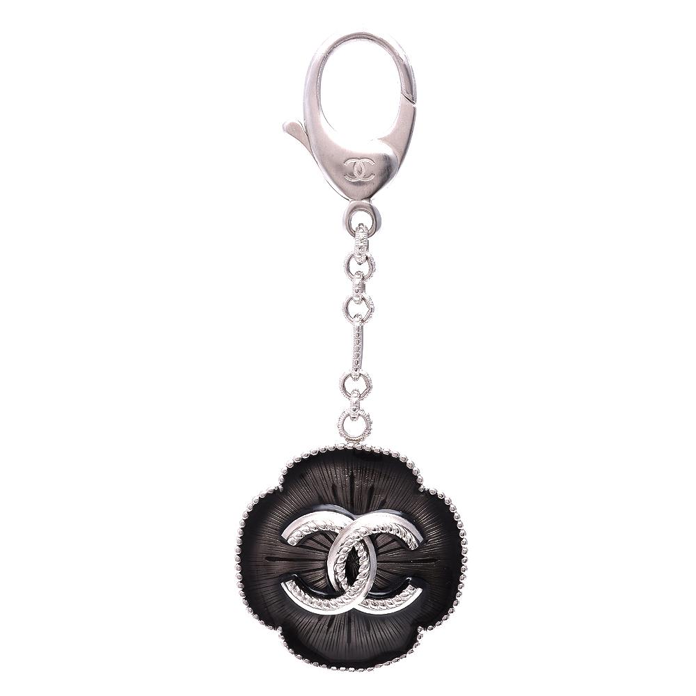 CHANEL 經典雙C LOGO麻花浮雕造型鑰匙圈吊飾(黑)