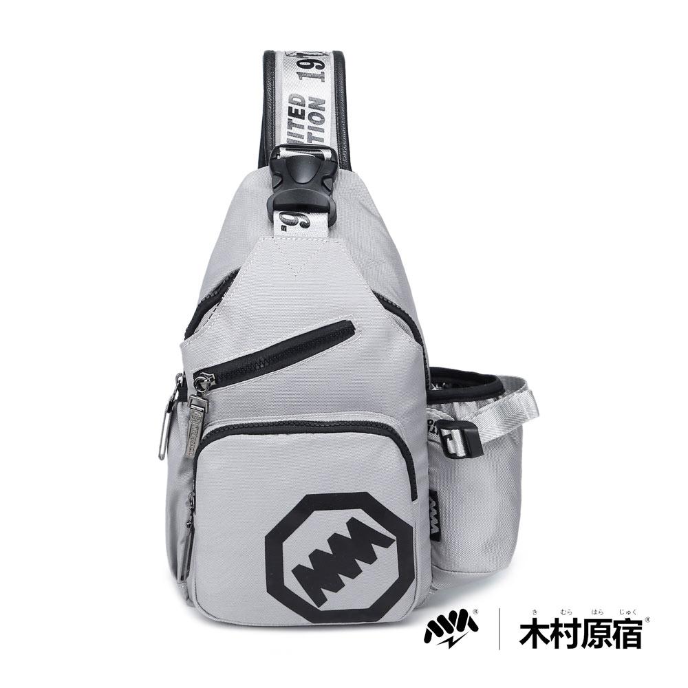 木村原宿MM- 有事多喝水 運動附側袋單肩包-灰