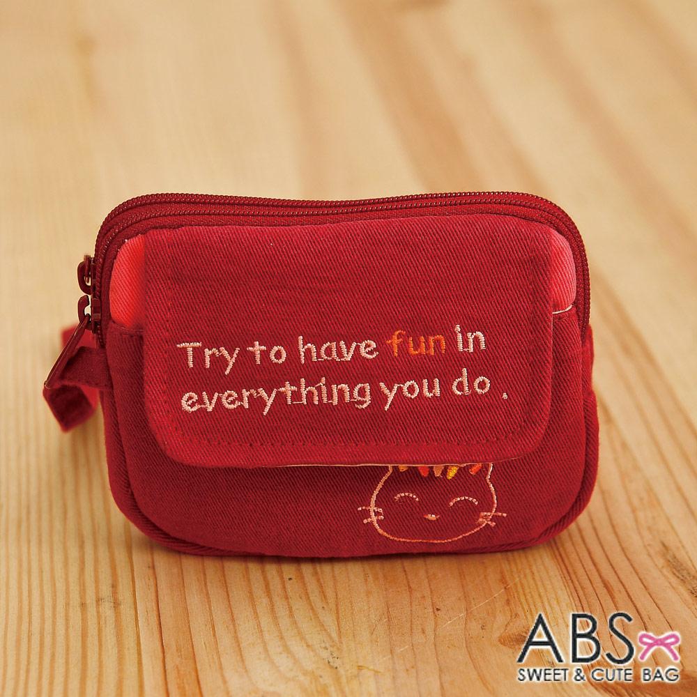 ABS貝斯貓 - HaveFun微笑貓咪拼布 雙層複合功能零錢包88-178 - 深棗紅