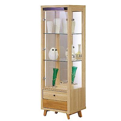 品家居 布列丹2尺木紋雙色展示櫃/ 收納櫃-60x40x184cm免組