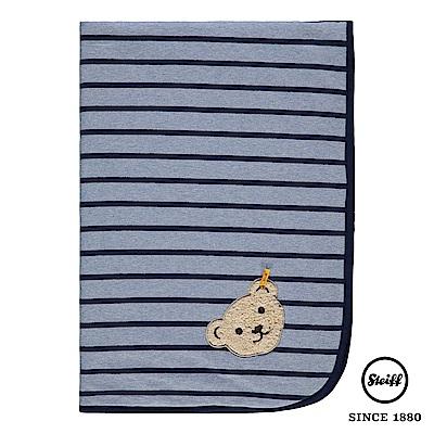 STEIFF德國金耳釦泰迪熊 - 舒眠毯 棉毯 條紋藍