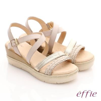 effie 嬉皮假期 真皮編織扣環簡約厚底涼拖鞋 米色