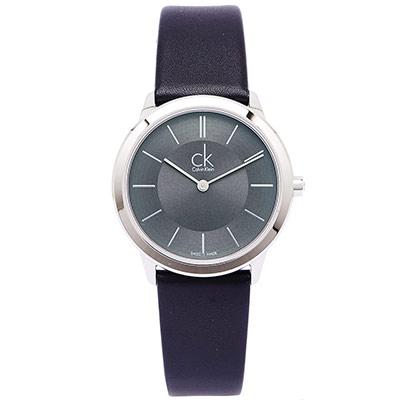 CK 雅痞極簡女性手錶(K3M221C4)-灰黑面X黑/34mm