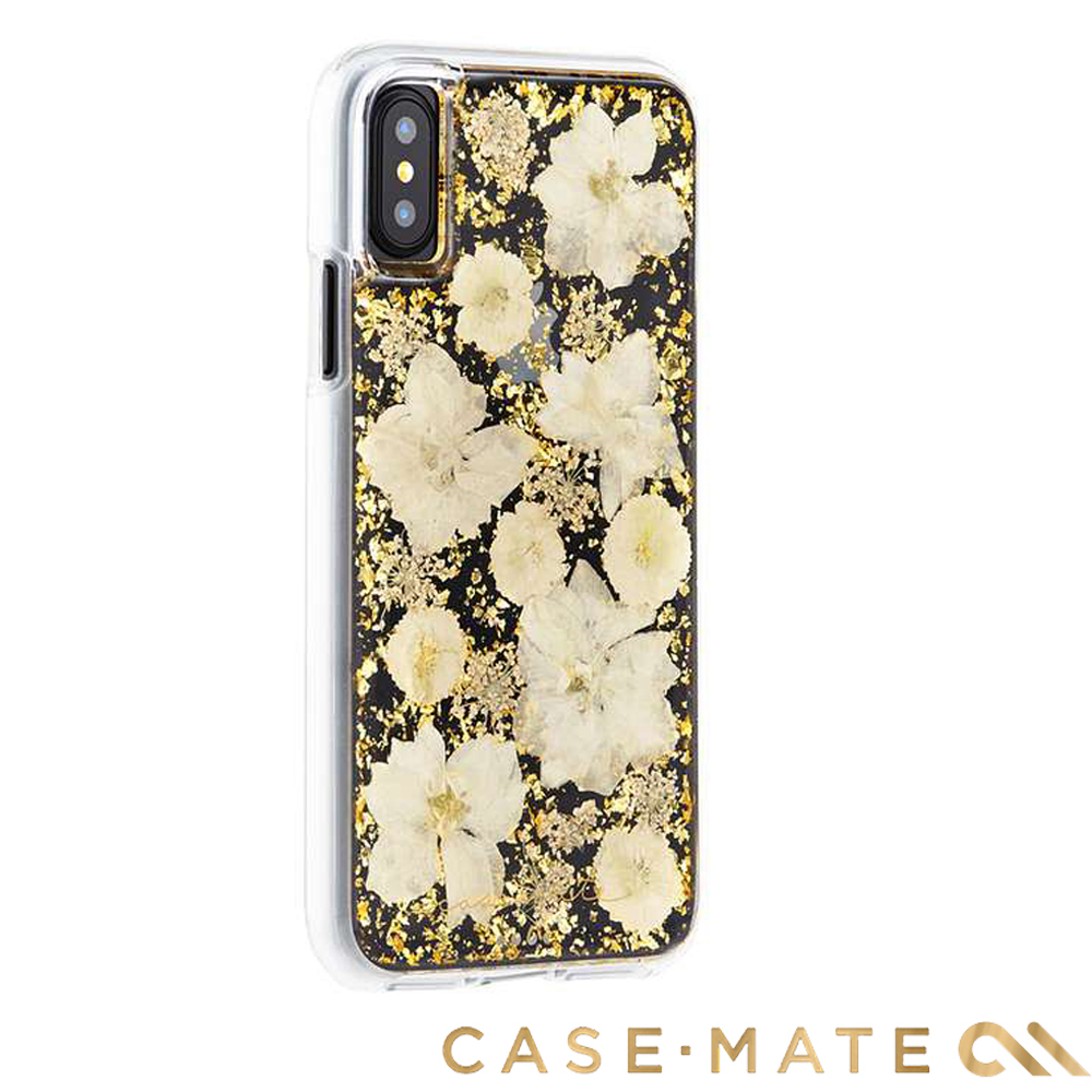 美國Case-Mate iPhone X Karat Petals 真實花朵手機殼-古典白