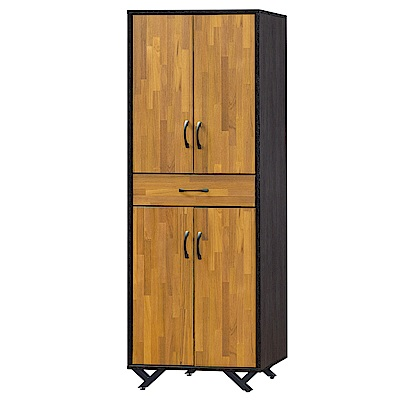 Bernice-泰克2尺四門單抽高鞋櫃/置物櫃/收納櫃(集層木)-61x41x186cm