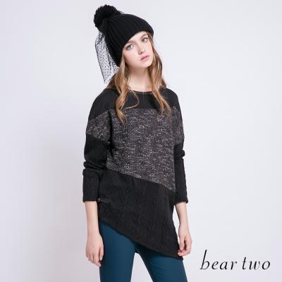 beartwo-異素材拼接變化長版針織衫-二色
