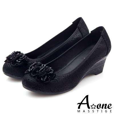 A-one-燙金動物紋麂絨串珠鑽花圓頭楔型鞋-高貴黑