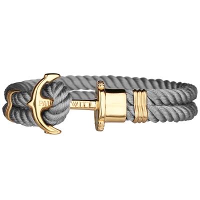 PAUL HEWITT 德國出品 PHREP 灰色尼龍編織 金色船錨 手環手鍊