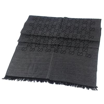 GUCCI 鐵灰/黑雙色 G LOGO羊毛混紡圍巾