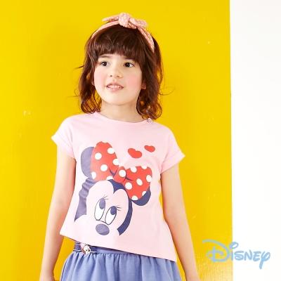 Disney個性不對襯印圖上衣 粉紅